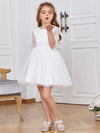 High Waist Embroidered Bodice Short Flower Girl Dress-White 4