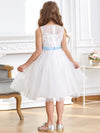 Fancy Knee-length Sheer Neck Flower Girl Dress with Bow-White 2
