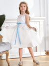 Fancy Knee-length Sheer Neck Flower Girl Dress with Bow-White 3