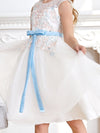Fancy Knee-length Sheer Neck Flower Girl Dress with Bow-White 5