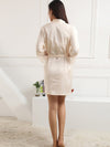 Silk Pajamas For Women With Long Lace Sleeve-Cream 2