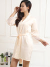 Silk Pajamas For Women With Long Lace Sleeve-Cream 3