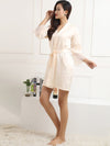 Silk Pajamas For Women With Long Lace Sleeve-Cream 4