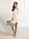 Silk Pajamas For Women With Long Lace Sleeve-Cream 1