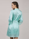 Silk Pajamas For Women With Long Lace Sleeve-Dusty Blue 2