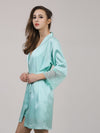 Silk Pajamas For Women With Long Lace Sleeve-Dusty Blue 3