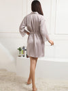 Silk Pajamas For Women With Long Lace Sleeve-Grey 2