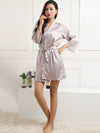 Silk Pajamas For Women With Long Lace Sleeve-Grey 3