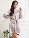 Silk Pajamas For Women With Long Lace Sleeve-Grey 4