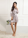 Silk Pajamas For Women With Long Lace Sleeve-Grey 1