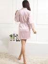 Silk Pajamas For Women With Long Lace Sleeve-Pink 2
