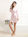 Silk Pajamas For Women With Long Lace Sleeve-Pink 3