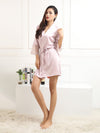 Silk Pajamas For Women With Long Lace Sleeve-Pink 1