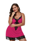 Plus Size Summer Fashion Sexy Sling Lace Silk Home Nightwear-Hot Pink 2