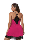 Plus Size Summer Fashion Sexy Sling Lace Silk Home Nightwear-Hot Pink 3