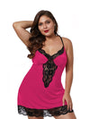 Plus Size Summer Fashion Sexy Sling Lace Silk Home Nightwear-Hot Pink 1