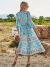 Deep V Neck Pagoda Sleeves Long Maxi Broomstick Summer Dress-Sky Blue 2