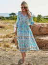 Deep V Neck Pagoda Sleeves Long Maxi Broomstick Summer Dress-Sky Blue 1