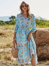 Deep V Neck Pagoda Sleeves Long Maxi Broomstick Summer Dress-Sky Blue 4