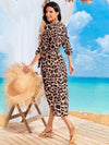V Neck Long Sleeves Adjustable Waist Ribbon Cheetah Beach Dresses-Brown 2