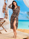 V Neck Long Sleeves Adjustable Waist Ribbon Cheetah Beach Dresses-Brown 3