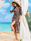 V Neck Long Sleeves Adjustable Waist Ribbon Cheetah Beach Dresses-Brown 4