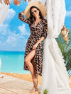 V Neck Long Sleeves Adjustable Waist Ribbon Cheetah Beach Dresses-Brown 1