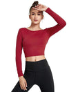 Women'S Active Wear With Long Sleeve And Crisscross Back For Yoga-Burgundy 1