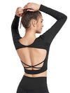 Women'S Active Wear With Long Sleeve And Crisscross Back For Yoga-Black 2