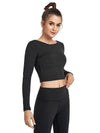 Women'S Active Wear With Long Sleeve And Crisscross Back For Yoga-Black 4