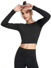 Women'S Active Wear With Long Sleeve And Crisscross Back For Yoga-Black 1