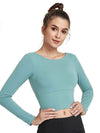 Women'S Active Wear With Long Sleeve And Crisscross Back For Yoga-Sky Blue 1