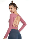 Women'S Active Wear With Long Sleeve And Crisscross Back For Yoga-Coral 3
