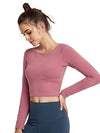 Women'S Active Wear With Long Sleeve And Crisscross Back For Yoga-Coral 4