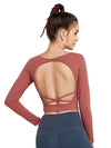 Women'S Active Wear With Long Sleeve And Crisscross Back For Yoga-Ruby 2