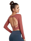 Women'S Active Wear With Long Sleeve And Crisscross Back For Yoga-Ruby 3