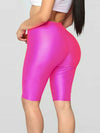 Casual Solid Color High Wasit Quick-Drying Sports Shorts-Hot Pink 2