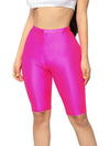 Casual Solid Color High Wasit Quick-Drying Sports Shorts-Hot Pink 1