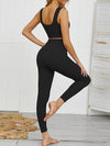 Women'S Classic Sleeveless Yoga Sports Set With Long Leggings-Black 2