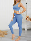 Women'S Classic Sleeveless Yoga Sports Set With Long Leggings-Sky Blue 3