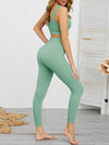 Women'S Classic Sleeveless Yoga Sports Set With Long Leggings-Mint Green 2