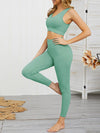 Women'S Classic Sleeveless Yoga Sports Set With Long Leggings-Mint Green 3