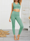 Women'S Classic Sleeveless Yoga Sports Set With Long Leggings-Mint Green 1