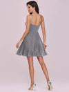 Spaghetti Strap Shiny Pleated Mini Cocktail Dress-Grey 3