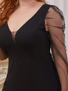 Elegant See-Through Puff Sleeves Cocktail Dress -Black 5