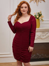 Simple Pleated Long Sleeves Plus Size Cocktail Dress-Burgundy 3
