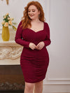 Simple Pleated Long Sleeves Plus Size Cocktail Dress-Burgundy 2