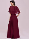 Elegant Flutter Sleeve V-Neck A-Line Floor Length Evening Dress-Burgundy 4