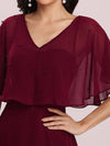 Elegant Flutter Sleeve V-Neck A-Line Floor Length Evening Dress-Burgundy 5