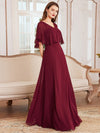 Elegant Flutter Sleeve V-Neck A-Line Floor Length Evening Dress-Burgundy 1